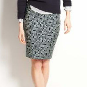 ANN TAYLOR Diamond Print Pencil Skirt 0 NAVY